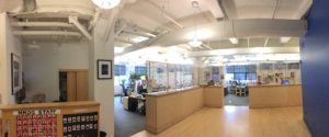 View of my office on the third floor of the Mark Morris Dance Center. My desk is behind the middle dividing-wall.