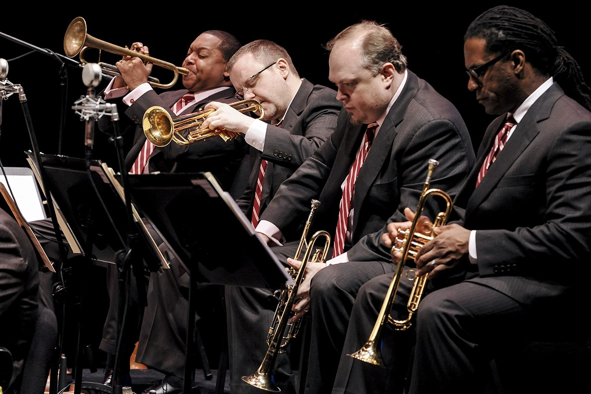 Photo Credit: Frank Stewart From left to right: Wynton Marsalis, Ryan Kisor, Kenny Rampton, and Marcus Printup