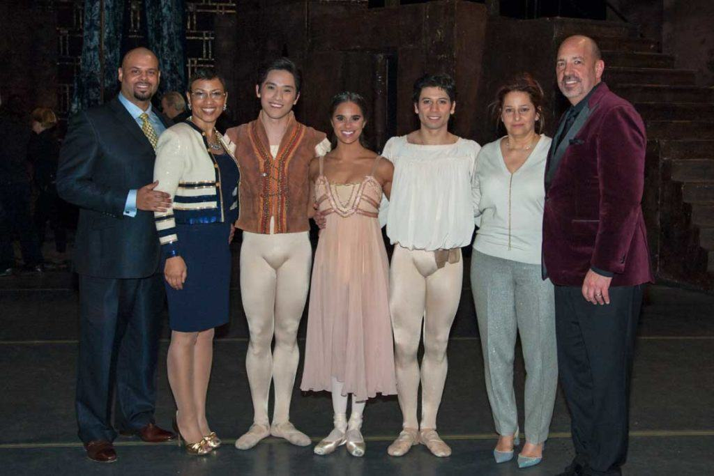 UMCU President and CEO Tiffany Ford and husband Damon Ford, along with Retired Lear President and CEO Matt Simoncini and wife Mona Simoncini with American Ballet Theater dancers