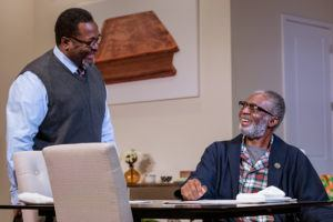 Wendell Pierce and Charlie Robinson on set